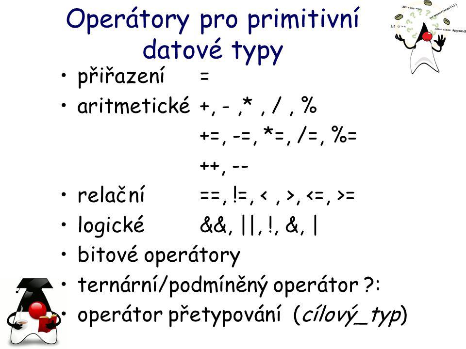 Operátory pro primitivní datové typy