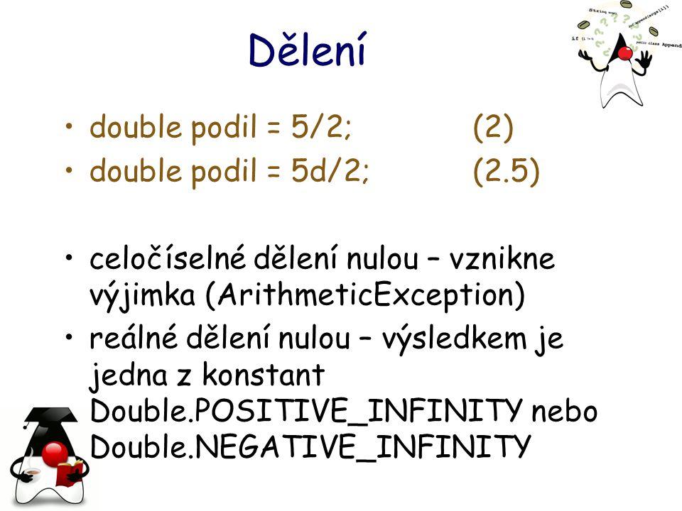 Dělení double podil = 5/2; (2) double podil = 5d/2; (2.5)
