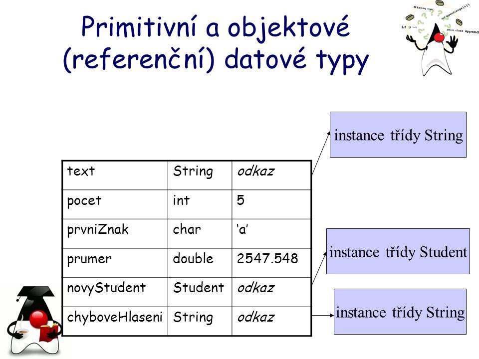 Primitivní a objektové (referenční) datové typy