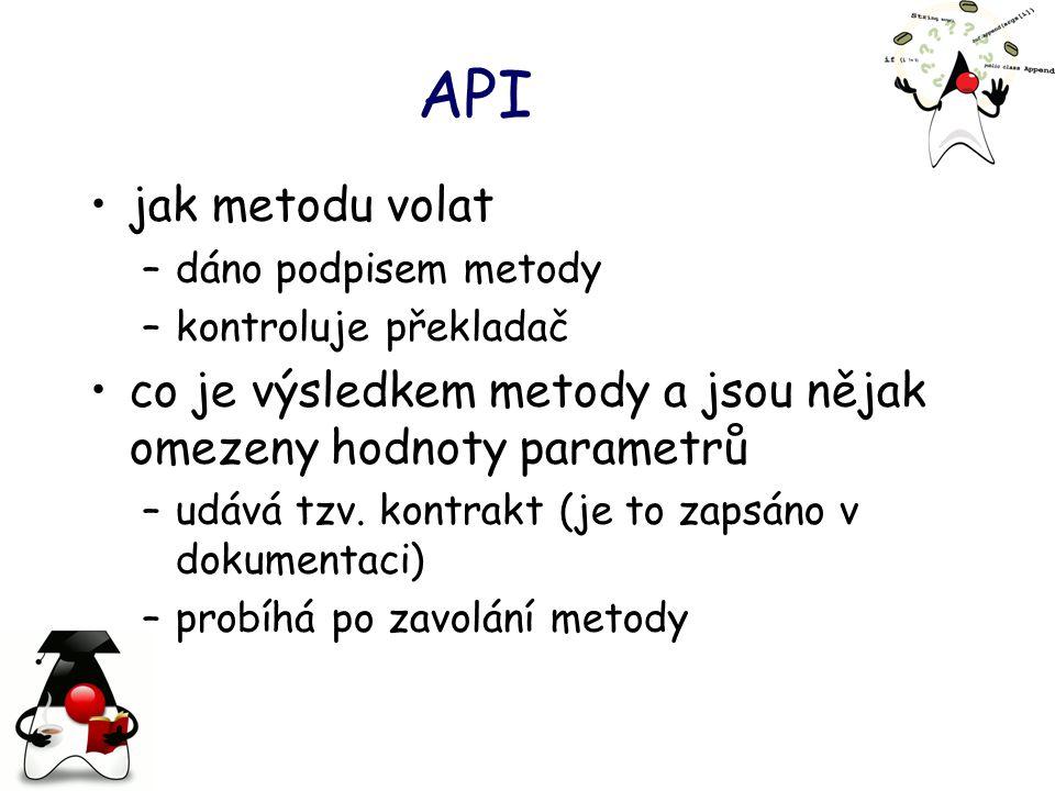 API jak metodu volat. dáno podpisem metody. kontroluje překladač. co je výsledkem metody a jsou nějak omezeny hodnoty parametrů.