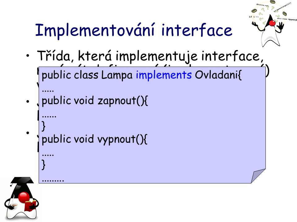 Implementování interface