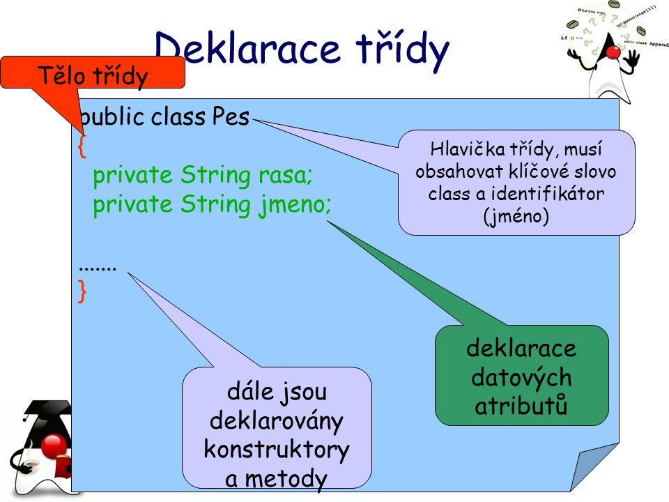 Deklarace třídy Tělo třídy public class Pes { private String rasa;