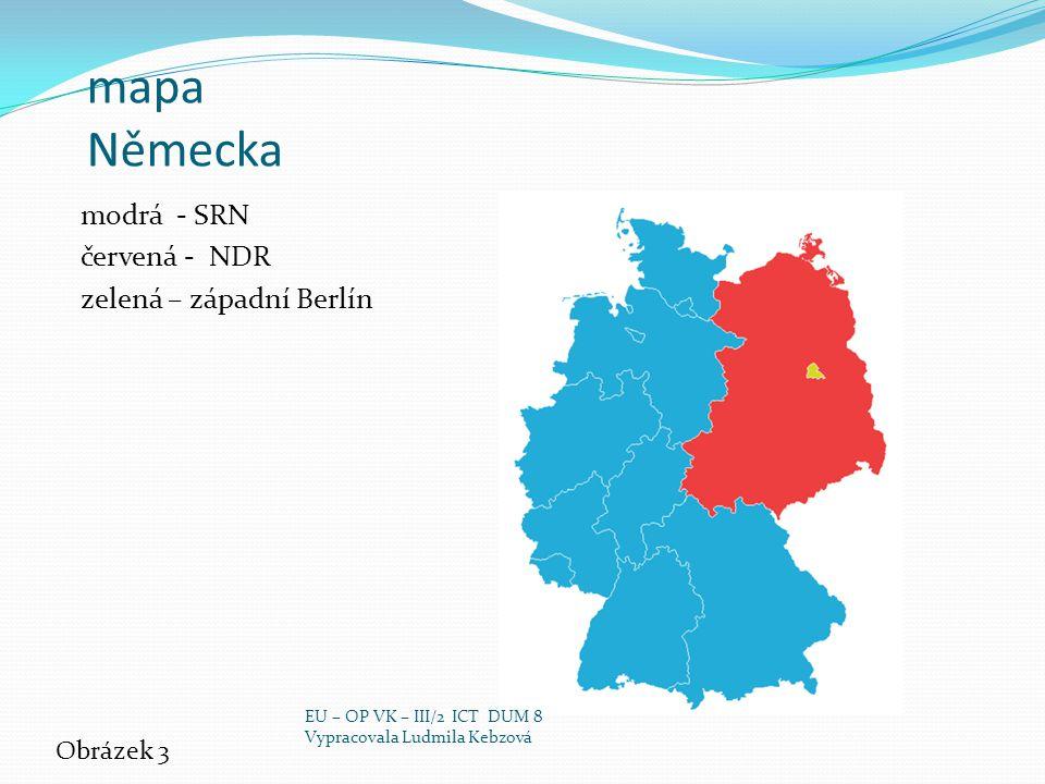 mapa Německa modrá - SRN červená - NDR zelená – západní Berlín