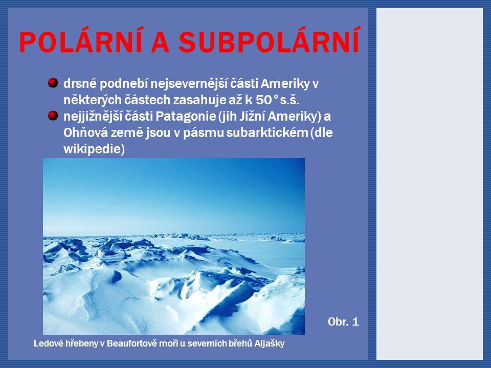 Polární a subpolární drsné podnebí nejsevernější části Ameriky v některých částech zasahuje až k 50°s.š.