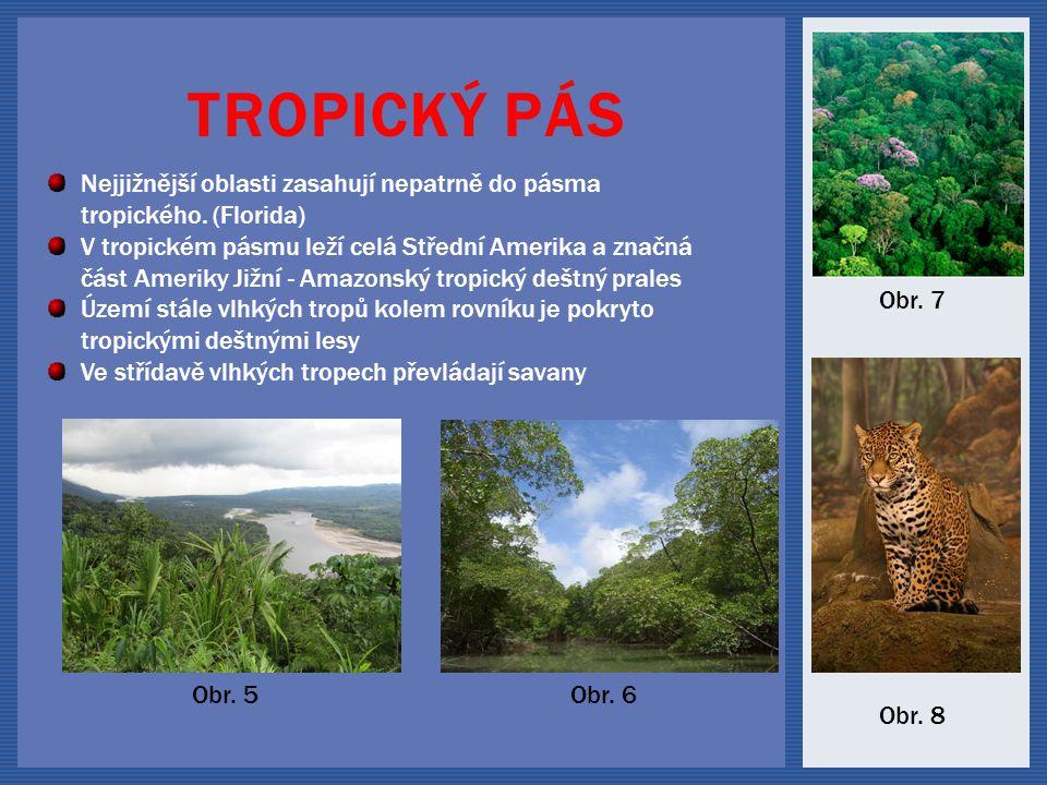 Tropický pás Nejjižnější oblasti zasahují nepatrně do pásma tropického. (Florida)