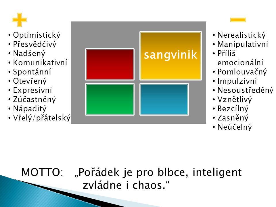 """sangvinik MOTTO: """"Pořádek je pro blbce, inteligent zvládne i chaos."""
