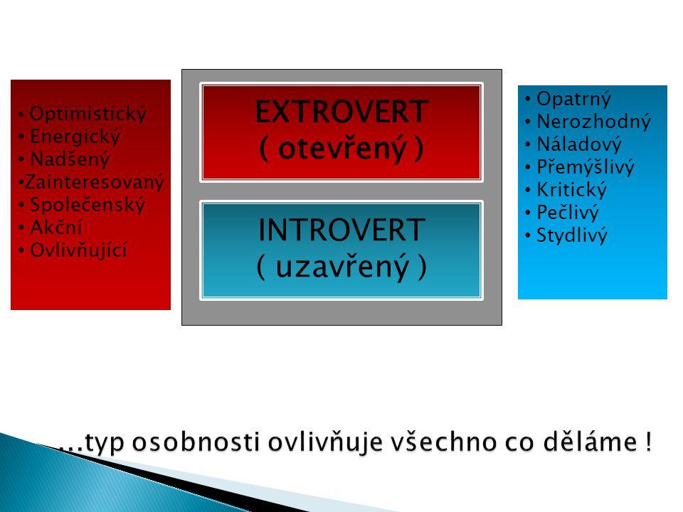 EXTROVERT ( otevřený ) INTROVERT ( uzavřený )