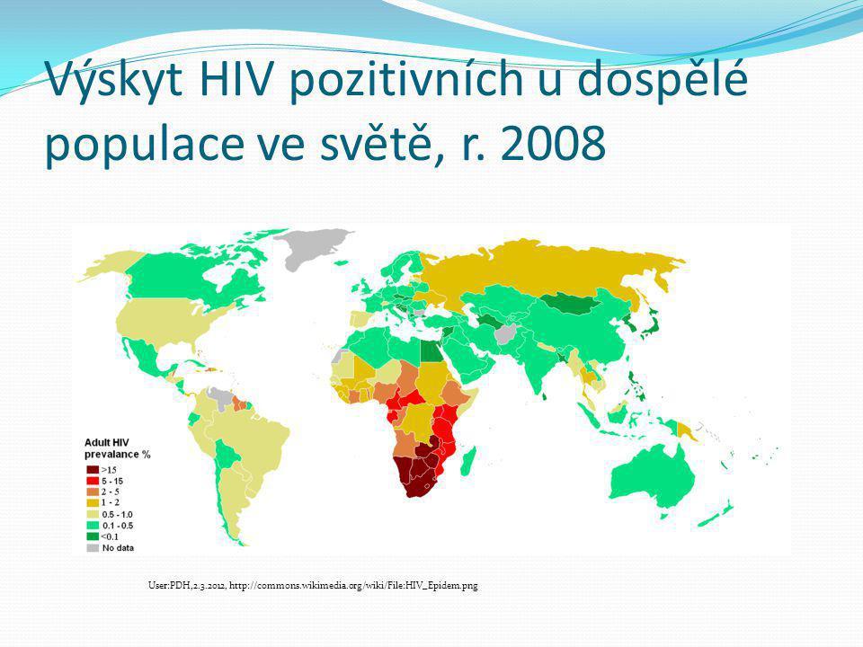 Výskyt HIV pozitivních u dospělé populace ve světě, r. 2008