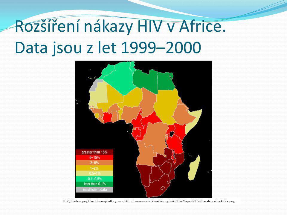 Rozšíření nákazy HIV v Africe. Data jsou z let 1999–2000