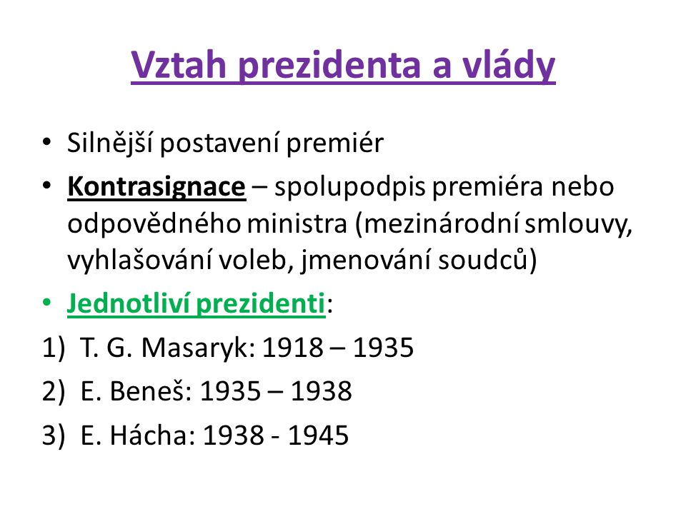 Vztah prezidenta a vlády
