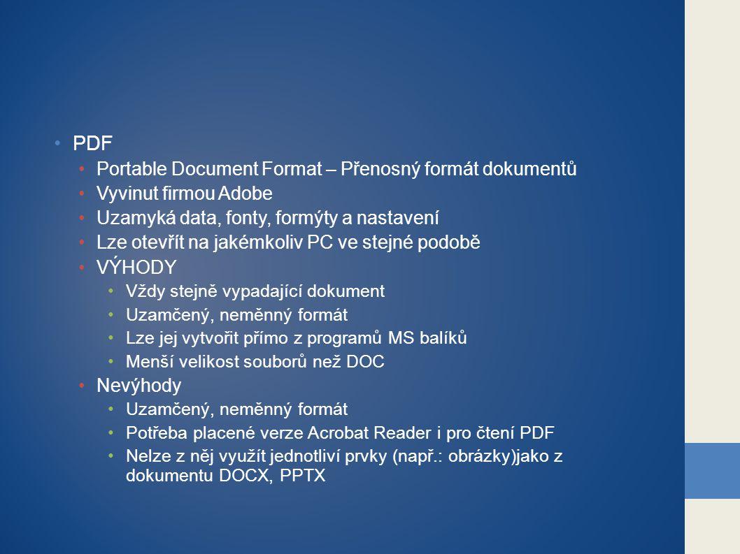 PDF Portable Document Format – Přenosný formát dokumentů