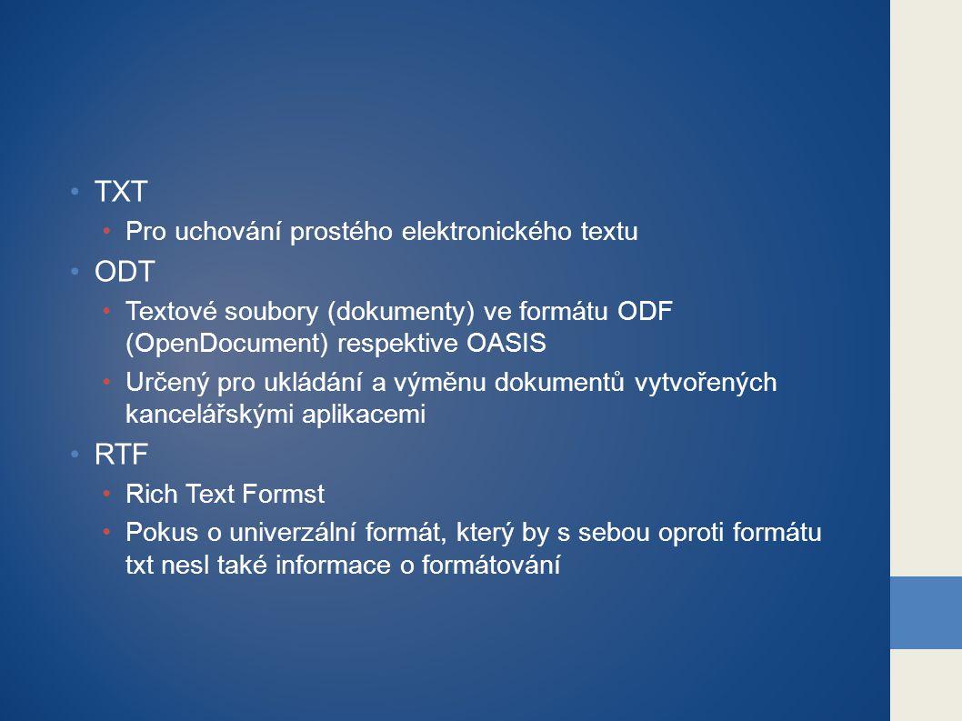 TXT ODT RTF Pro uchování prostého elektronického textu