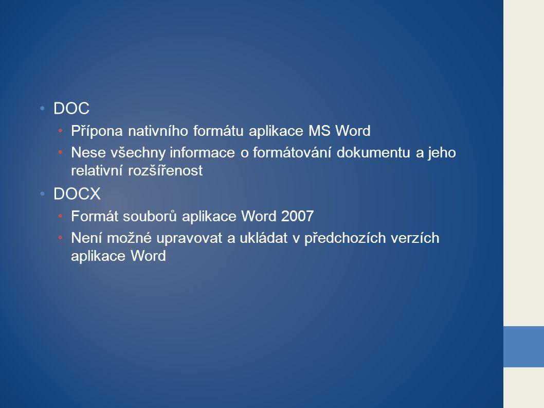 DOC DOCX Přípona nativního formátu aplikace MS Word