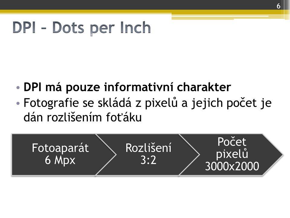 DPI – Dots per Inch DPI má pouze informativní charakter