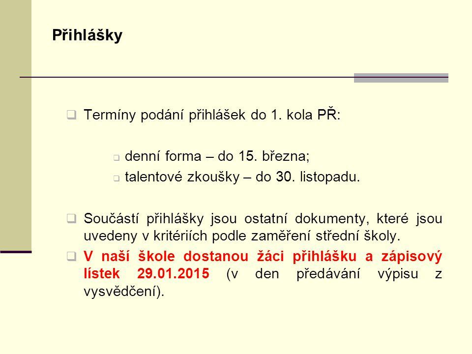 Přihlášky Termíny podání přihlášek do 1. kola PŘ: