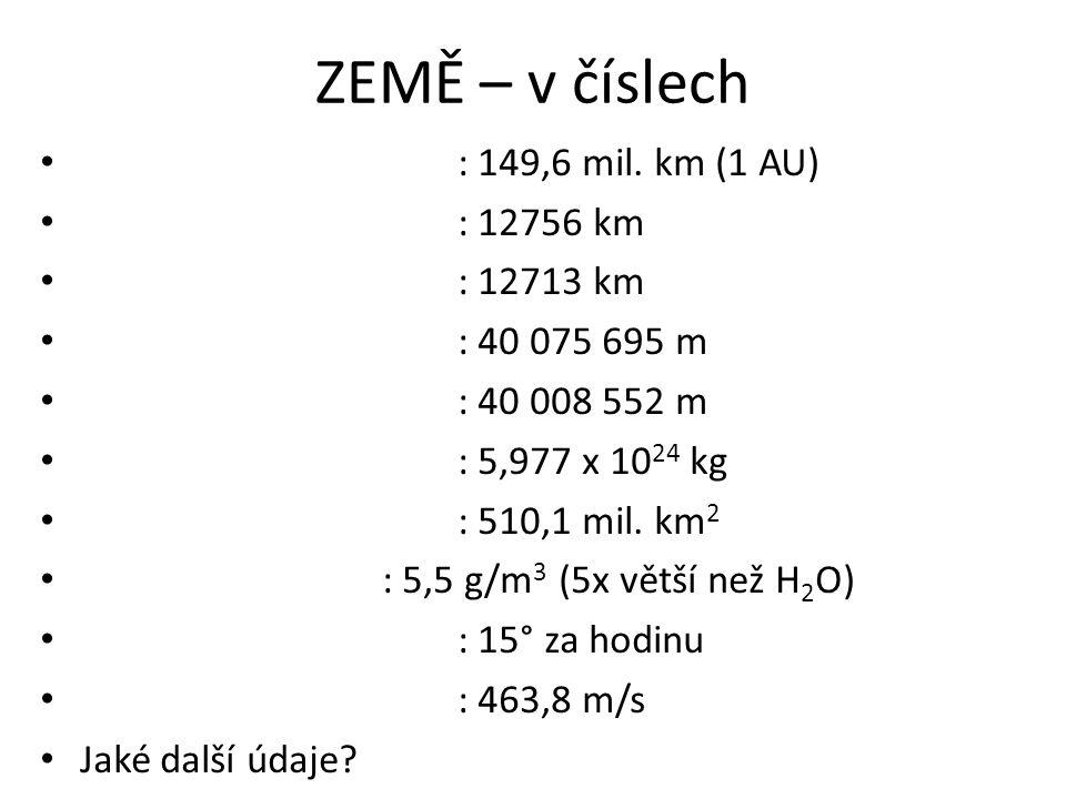 ZEMĚ – v číslech : 149,6 mil. km (1 AU) : 12756 km : 12713 km