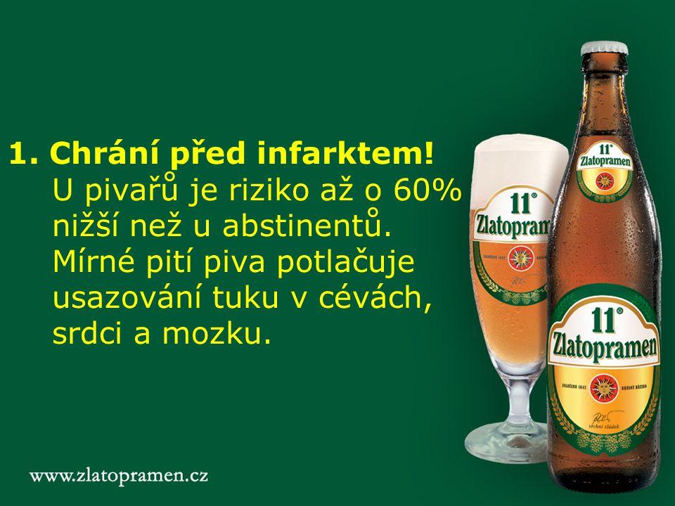 1. Chrání před infarktem. U pivařů je riziko až o 60% nižší než u abstinentů.
