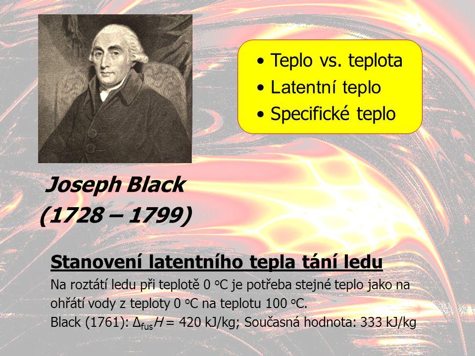 Joseph Black (1728 – 1799) Teplo vs. teplota Latentní teplo