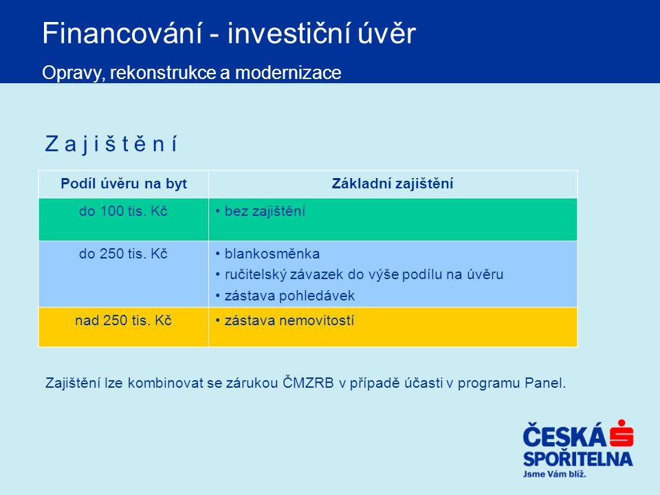 Financování - investiční úvěr