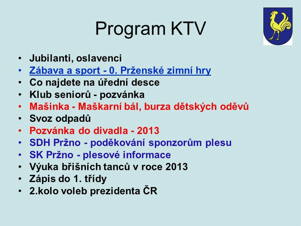 Program KTV Jubilanti, oslavenci