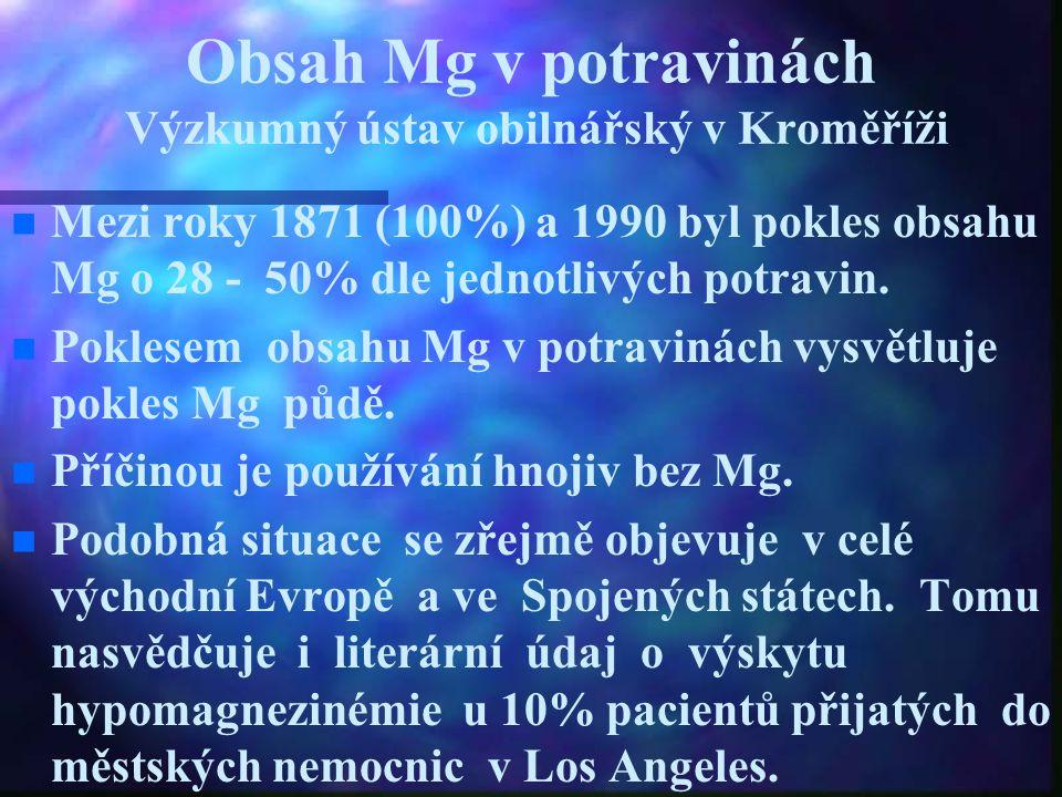 Obsah Mg v potravinách Výzkumný ústav obilnářský v Kroměříži