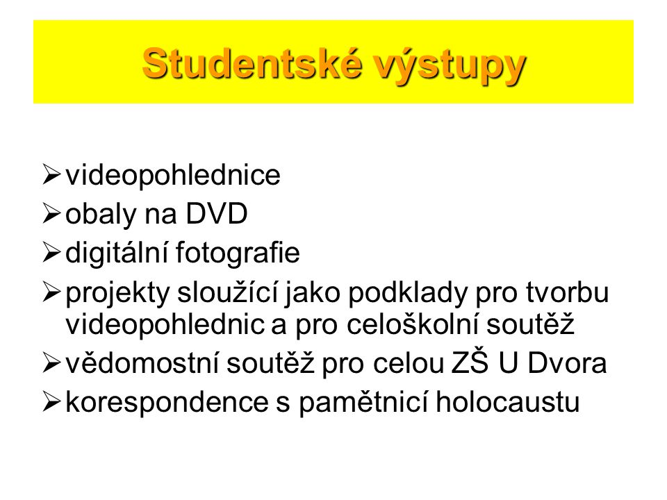 Studentské výstupy videopohlednice obaly na DVD digitální fotografie