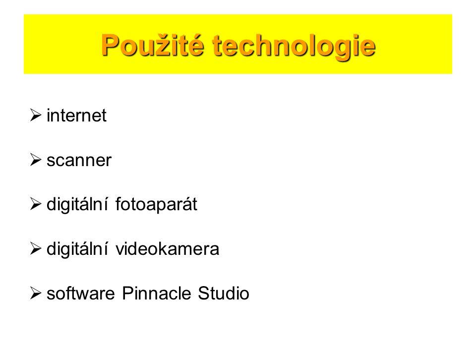 Použité technologie internet scanner digitální fotoaparát
