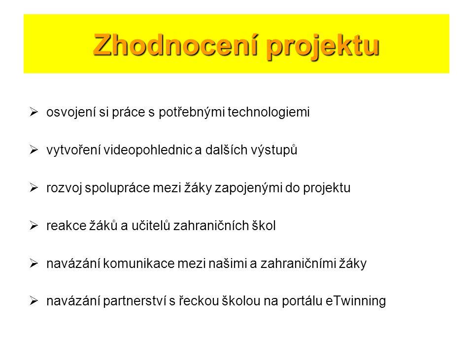 Zhodnocení projektu osvojení si práce s potřebnými technologiemi