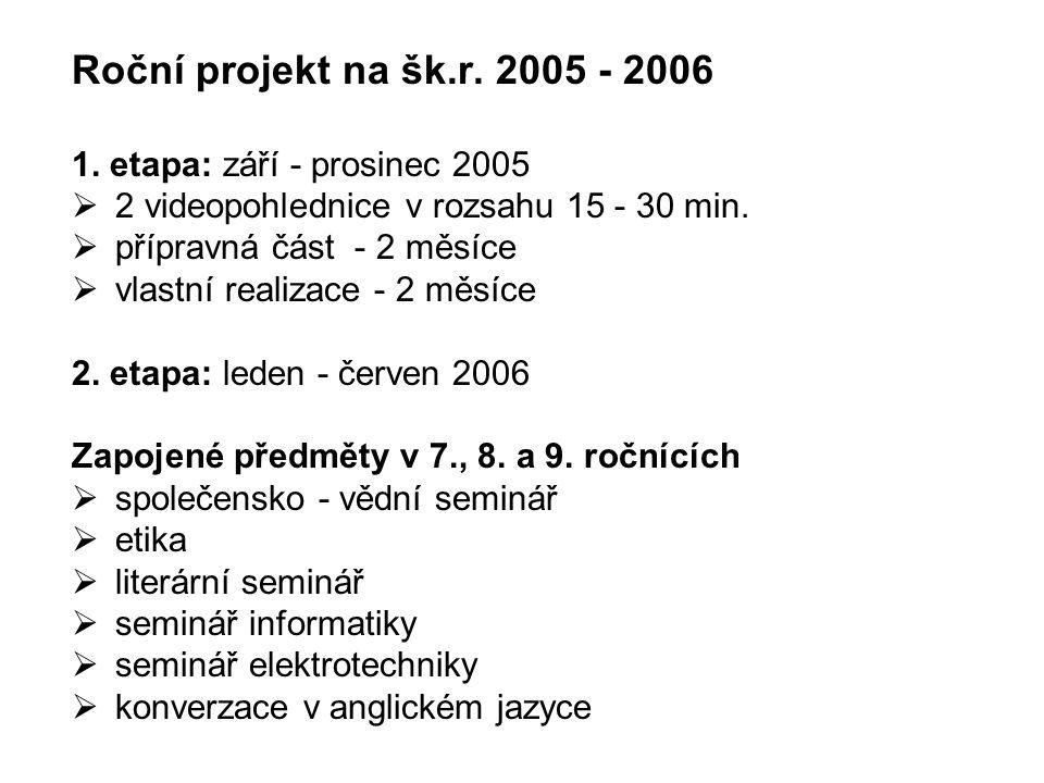 Roční projekt na šk.r. 2005 - 2006 1. etapa: září - prosinec 2005