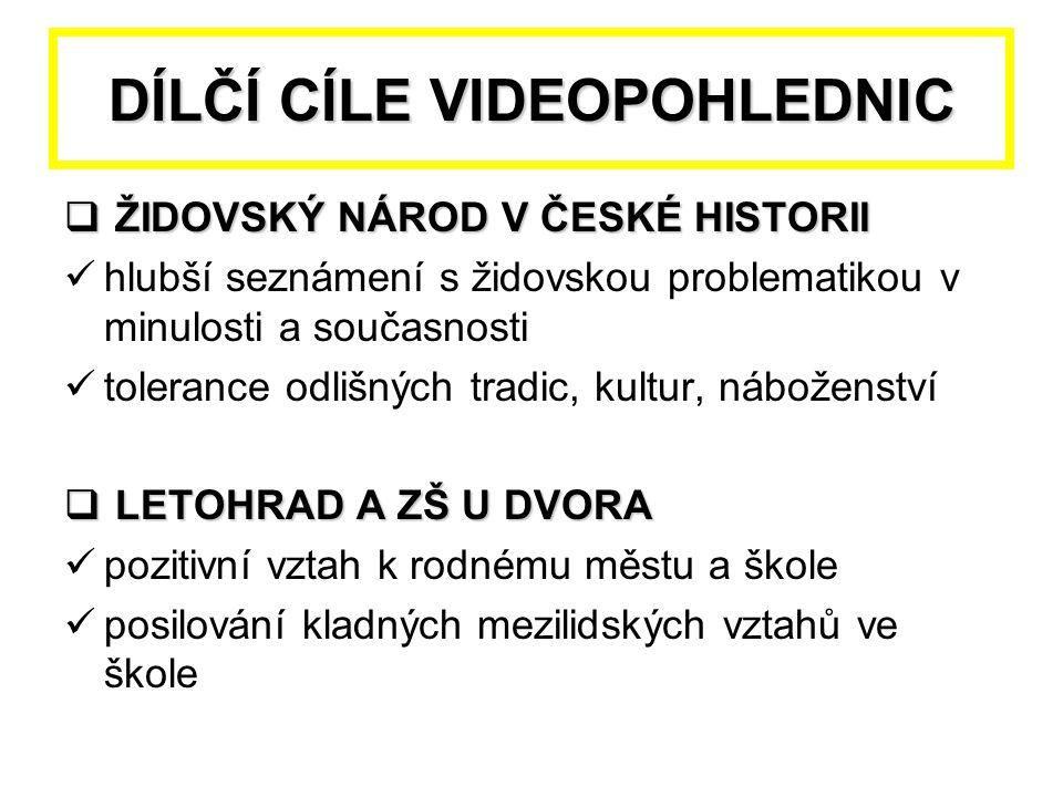 DÍLČÍ CÍLE VIDEOPOHLEDNIC