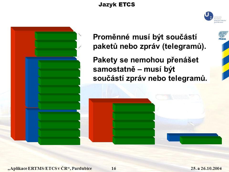 Proměnné musí být součástí paketů nebo zpráv (telegramů).