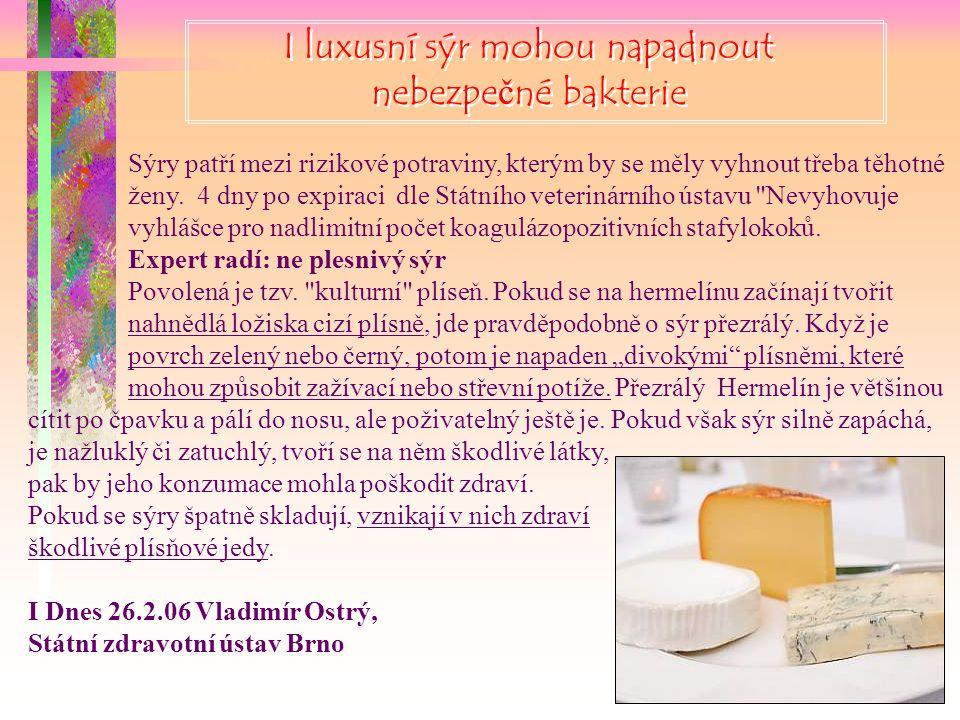 I luxusní sýr mohou napadnout nebezpečné bakterie