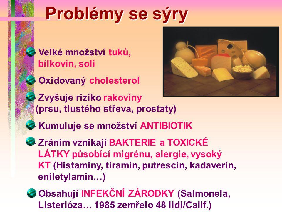 Problémy se sýry - Velké množství tuků, bílkovin, soli