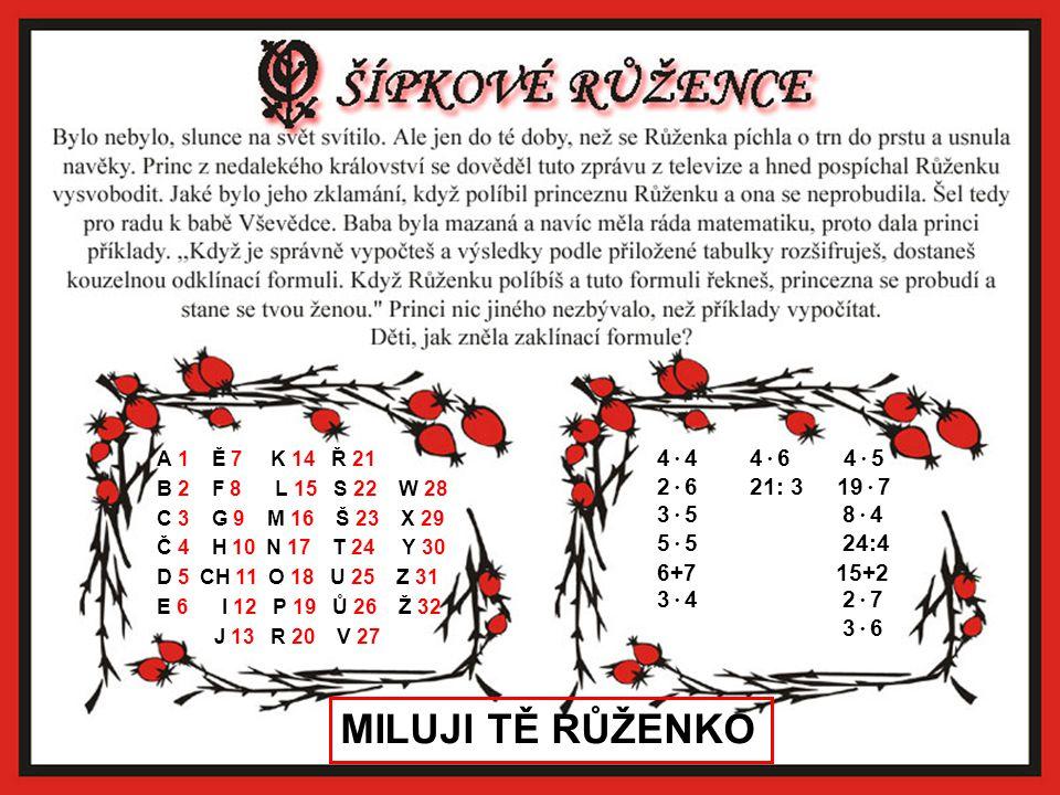 MILUJI TĚ RŮŽENKO 4·4 4·6 4·5 2·6 21: 3 19·7 3·5 8·4 5·5 24:4 6+7 15+2