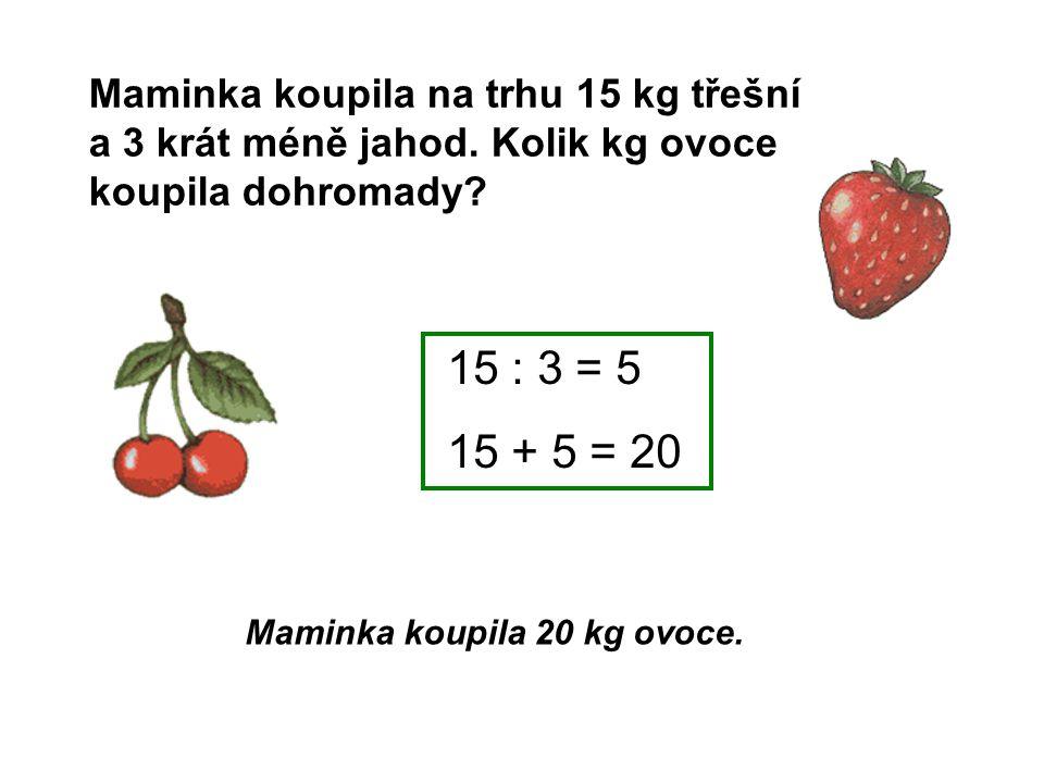 Maminka koupila 20 kg ovoce.