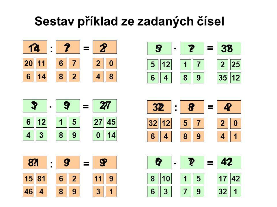 Sestav příklad ze zadaných čísel