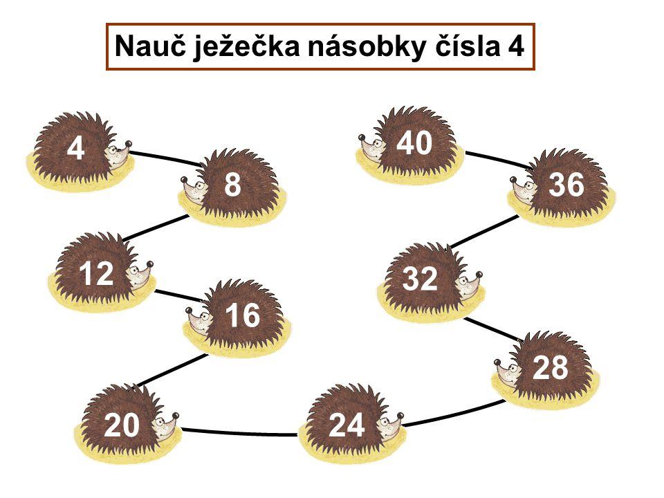 Nauč ježečka násobky čísla 4