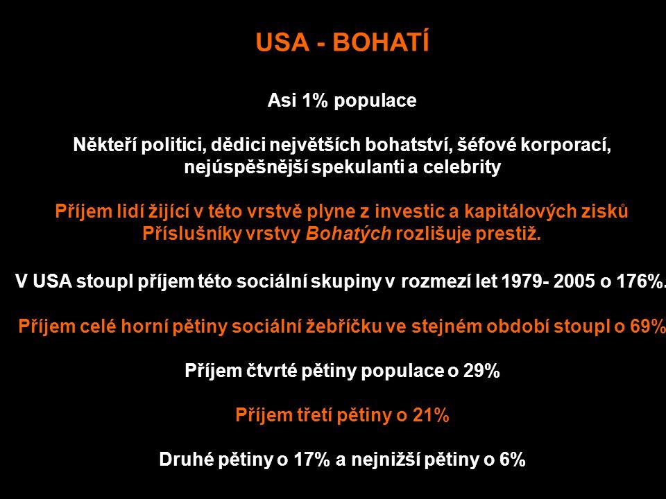 USA - BOHATÍ Asi 1% populace