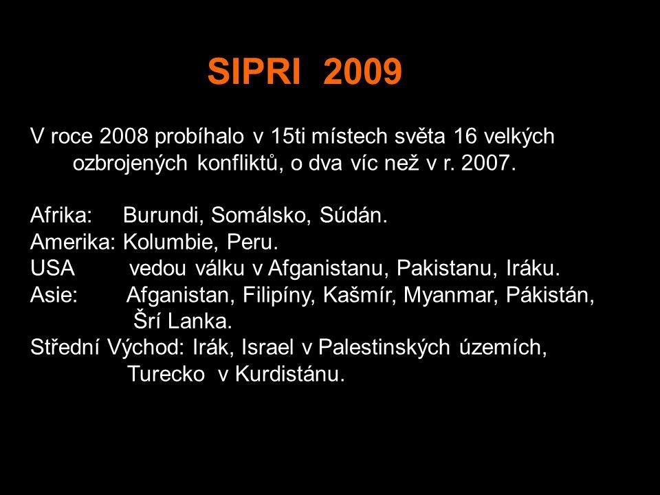 SIPRI 2009 V roce 2008 probíhalo v 15ti místech světa 16 velkých