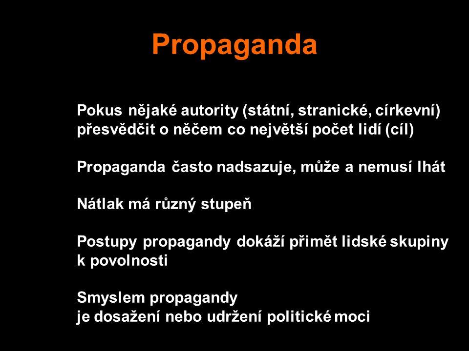 Propaganda Pokus nějaké autority (státní, stranické, církevní)