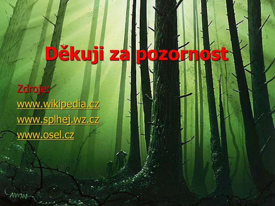 Děkuji za pozornost Zdroje: www.wikipedia.cz www.splhej.wz.cz