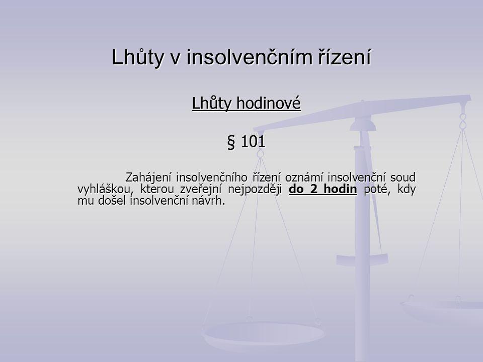 Lhůty v insolvenčním řízení