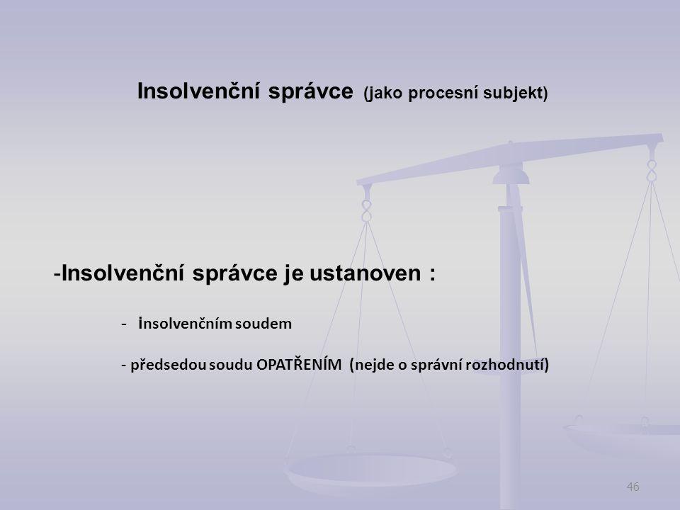 Insolvenční správce (jako procesní subjekt)
