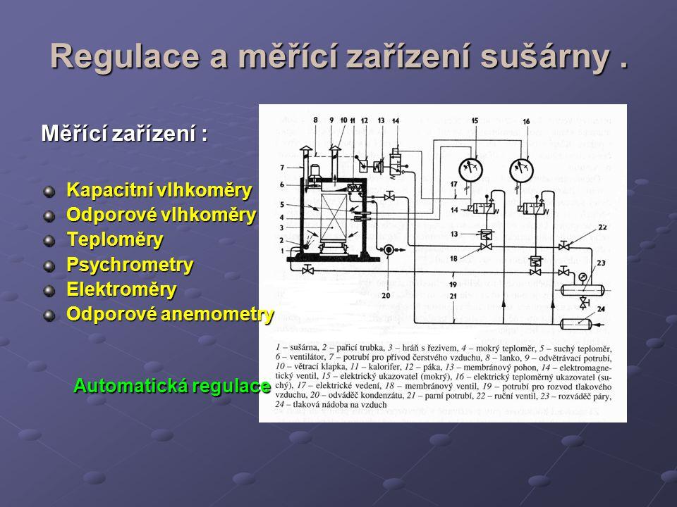 Regulace a měřící zařízení sušárny .