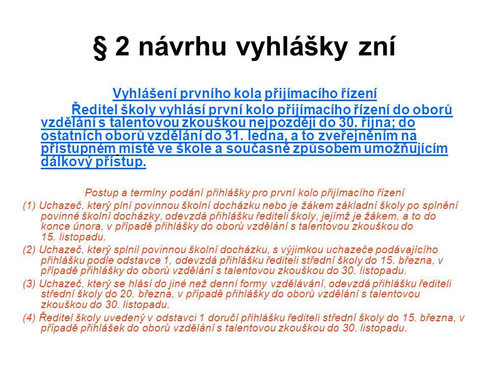 § 2 návrhu vyhlášky zní Vyhlášení prvního kola přijímacího řízení