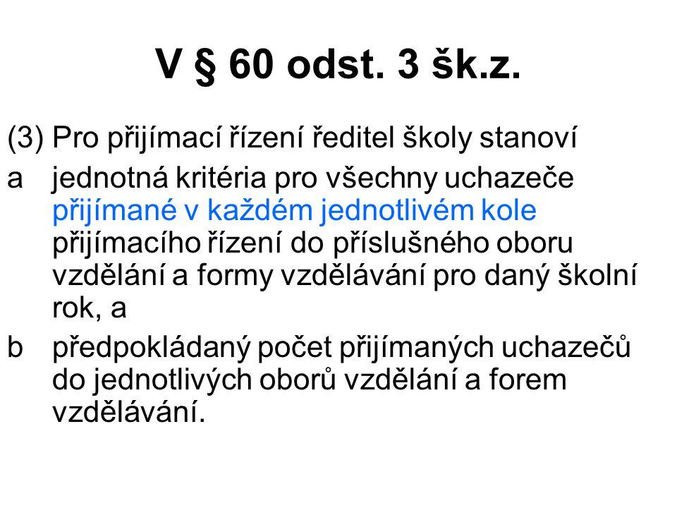 V § 60 odst. 3 šk.z. (3) Pro přijímací řízení ředitel školy stanoví