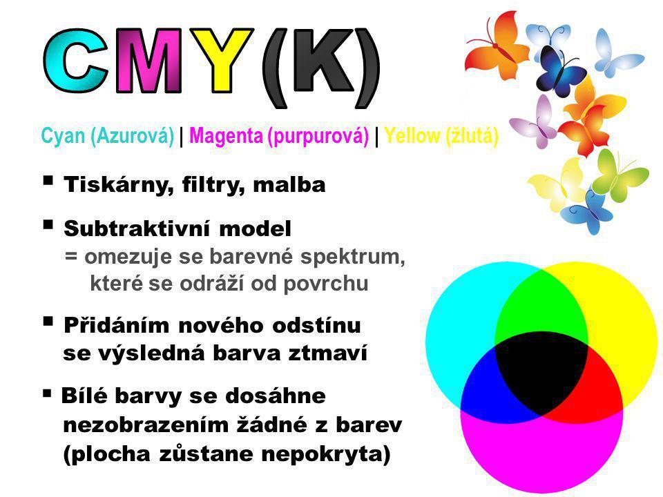 C M Y (K) Tiskárny, filtry, malba Subtraktivní model