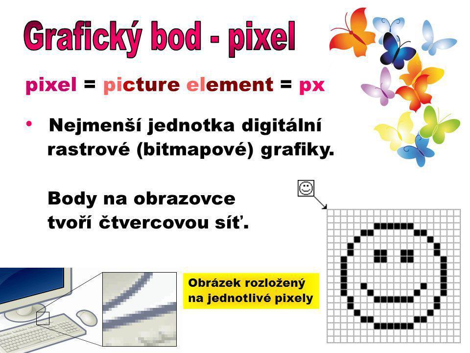 Grafický bod - pixel pixel = picture element = px