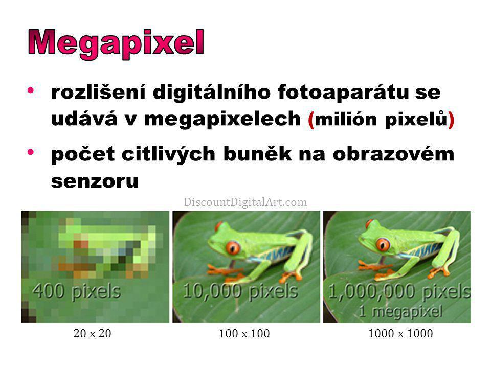 Megapixel rozlišení digitálního fotoaparátu se udává v megapixelech (milión pixelů) počet citlivých buněk na obrazovém senzoru.