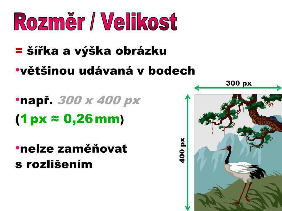 Rozměr / Velikost (1 px ≈ 0,26 mm) = šířka a výška obrázku